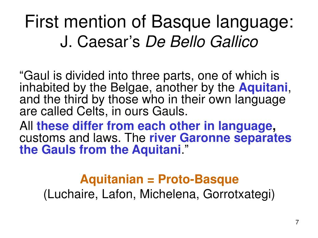 First mention of Basque language:
