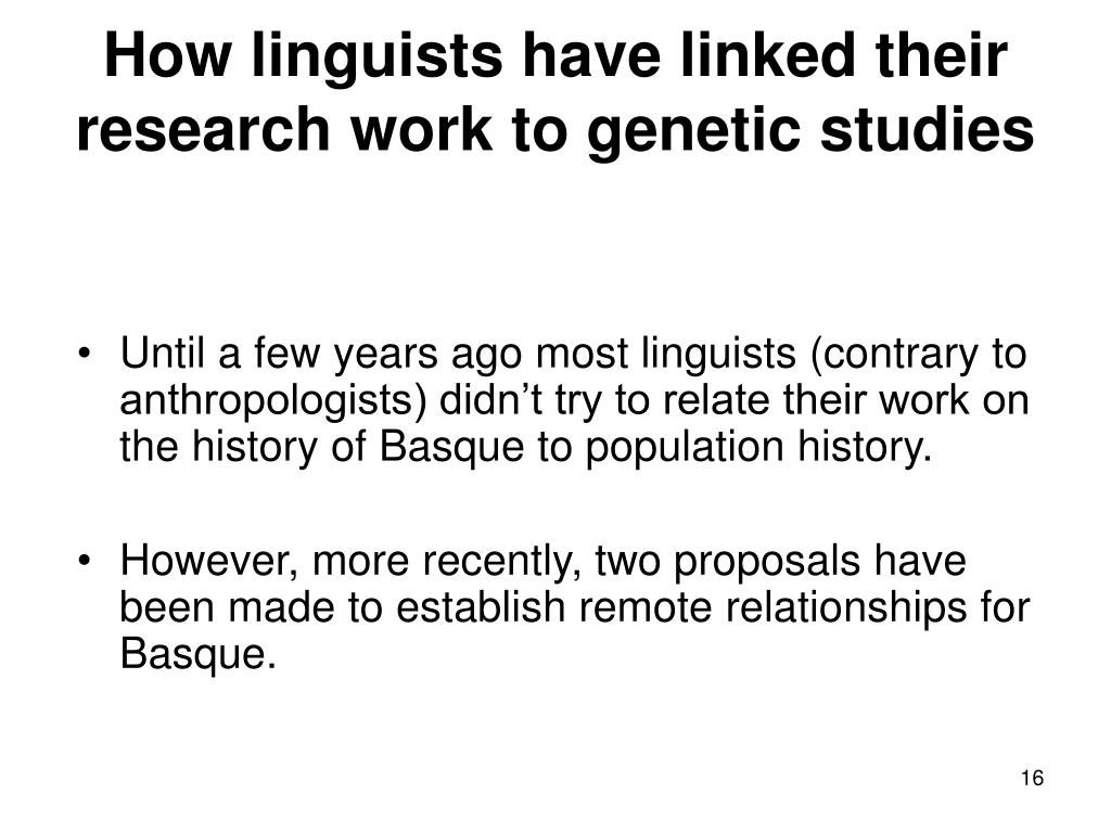 How linguists have linked their research work to genetic studies