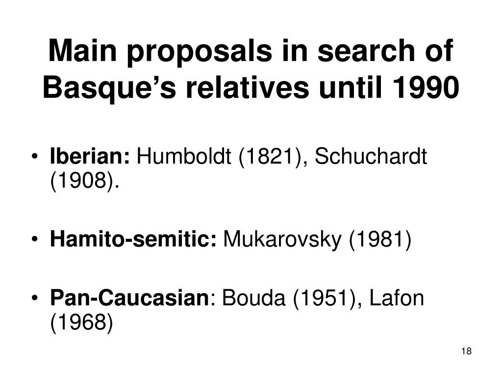 Main proposals in search of Basque's relatives until 1990