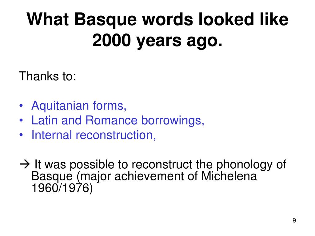 What Basque words looked like 2000 years ago.