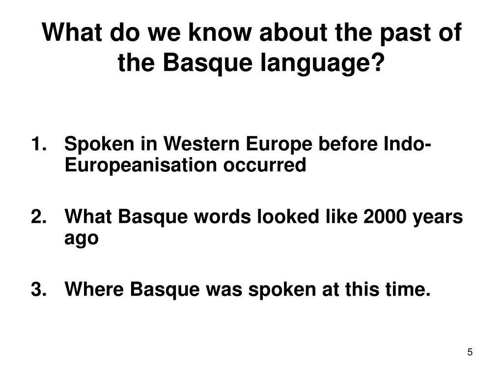 What do we know about the past of the Basque language?