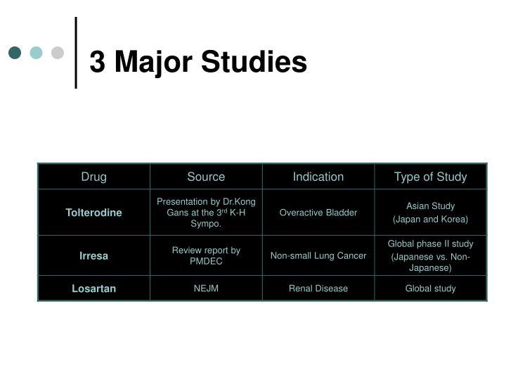 3 Major Studies