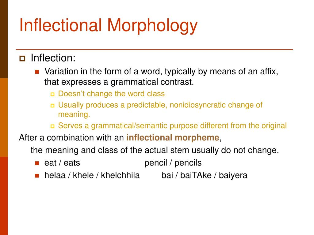 inflectional morphology Many linguists have studied the role of analogy in english inflectional morphology, says mattiello, but analogy also deserves attention and investigation in word formation, particularly because of its relevance to neology in english.