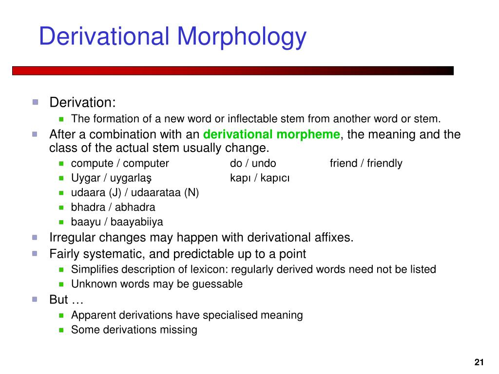 Derivational Morphology