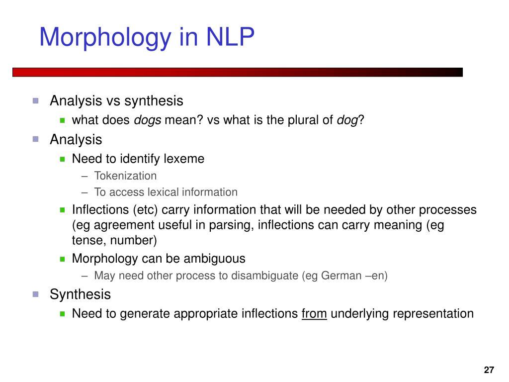 Morphology in NLP