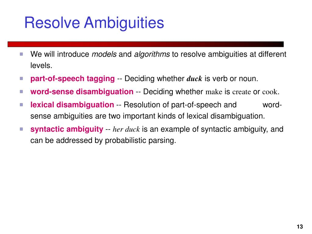 Resolve Ambiguities