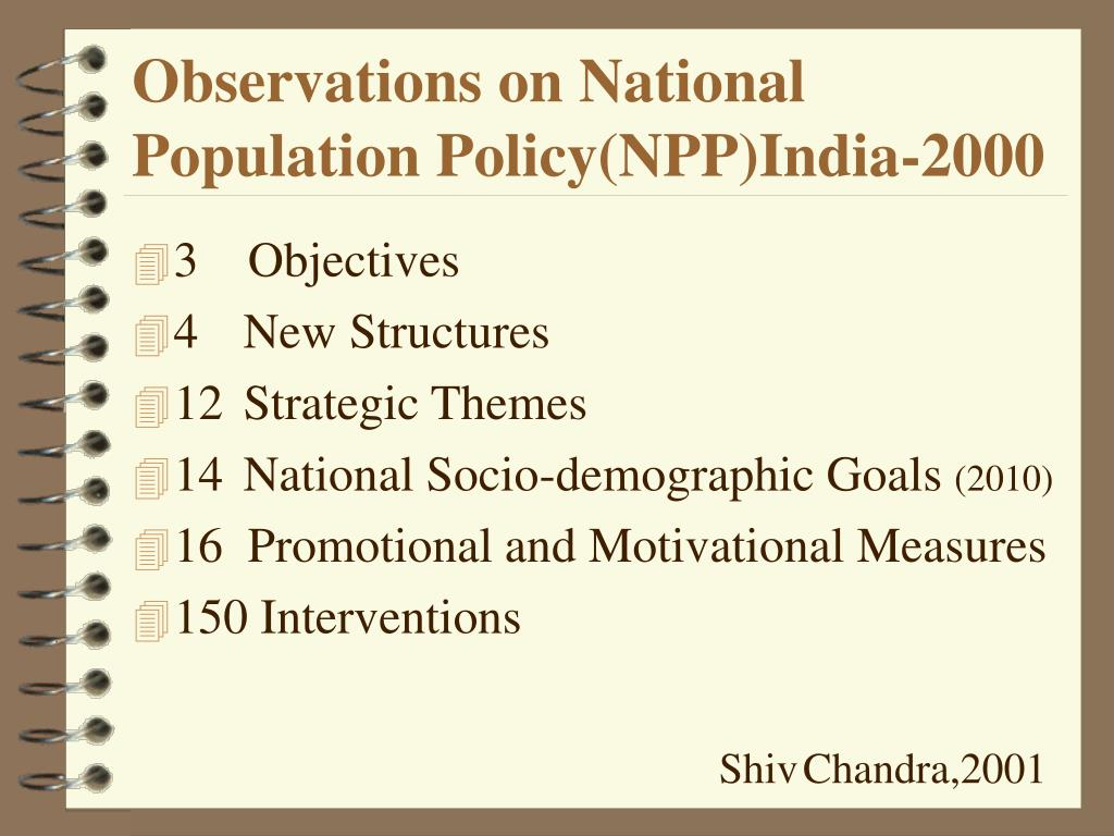 Observations on National Population Policy(NPP)India-2000