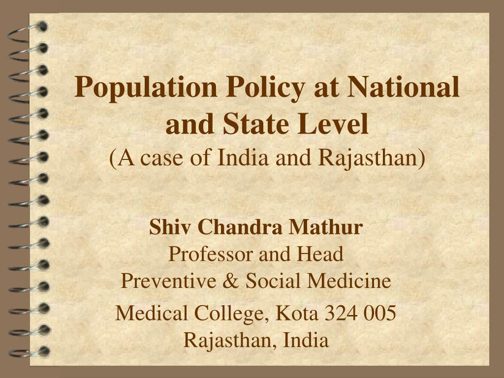 population policy at national and state level a case of india and rajasthan