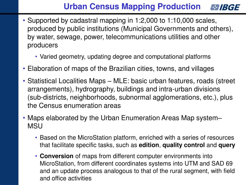 Urban Census Mapping Production