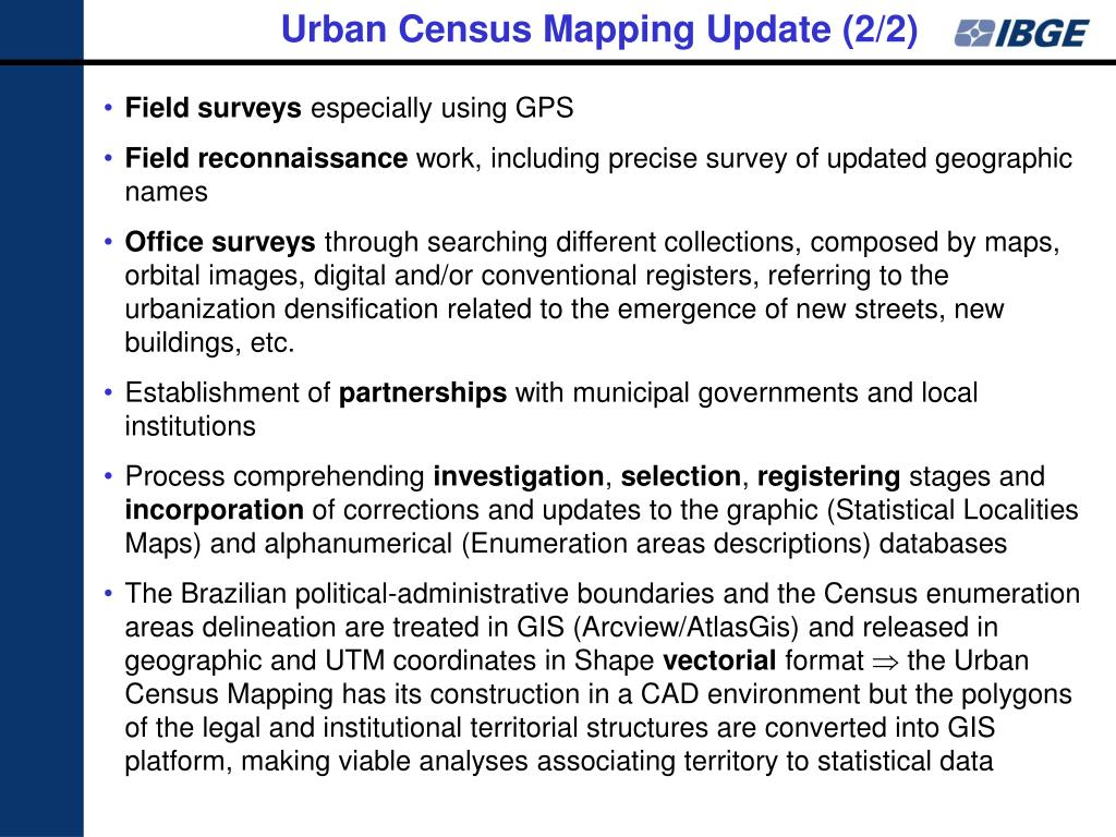 Urban Census Mapping Update (2/2)