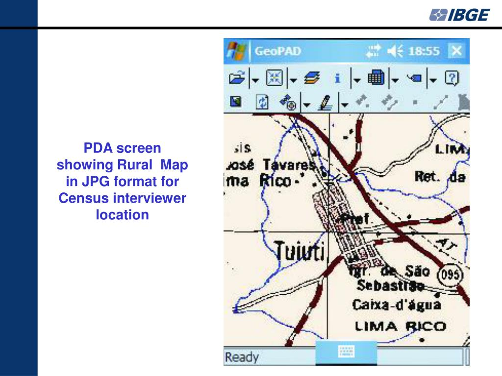 PDA screen showing Rural  Map in JPG format for Census interviewer location