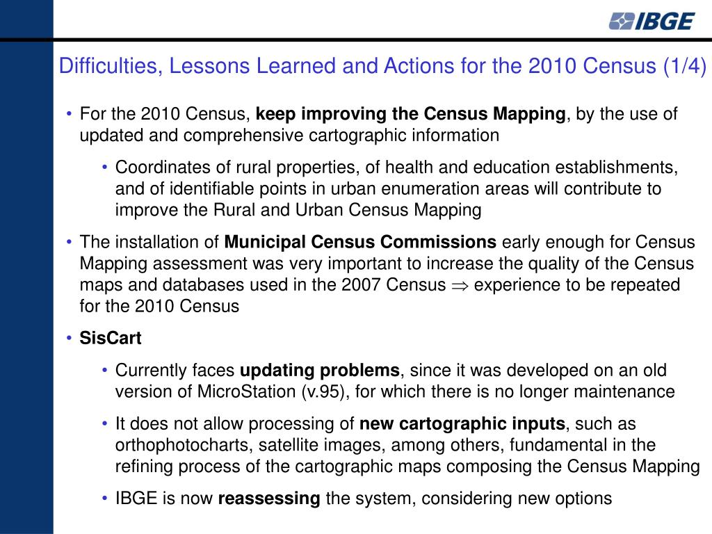 Difficulties, Lessons Learned and Actions for the 2010 Census (1/4)