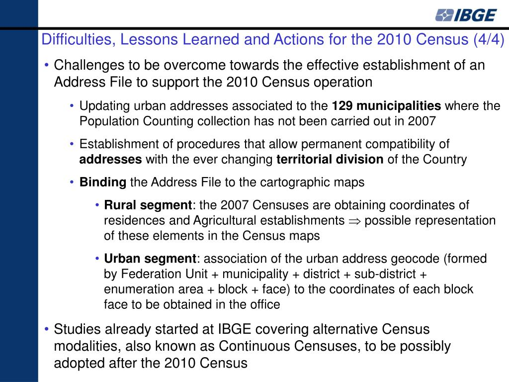 Difficulties, Lessons Learned and Actions for the 2010 Census (4/4)