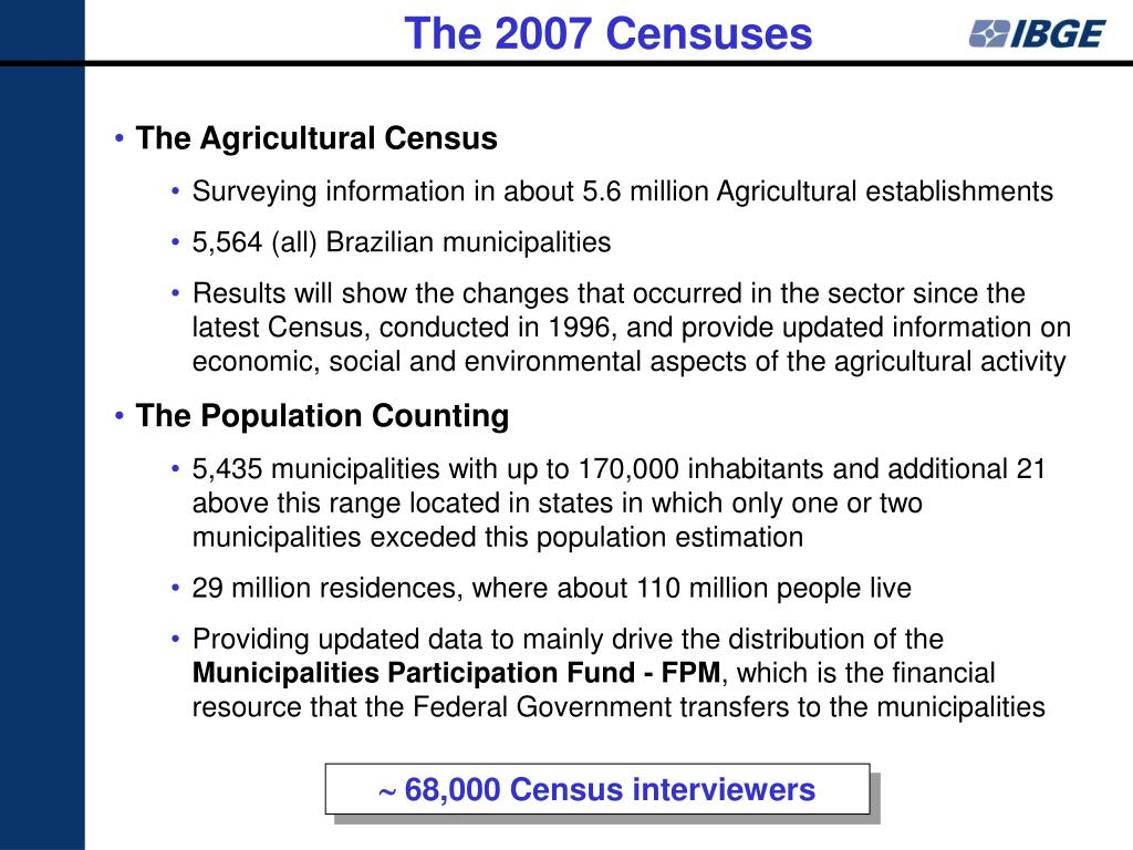 The 2007 Censuses