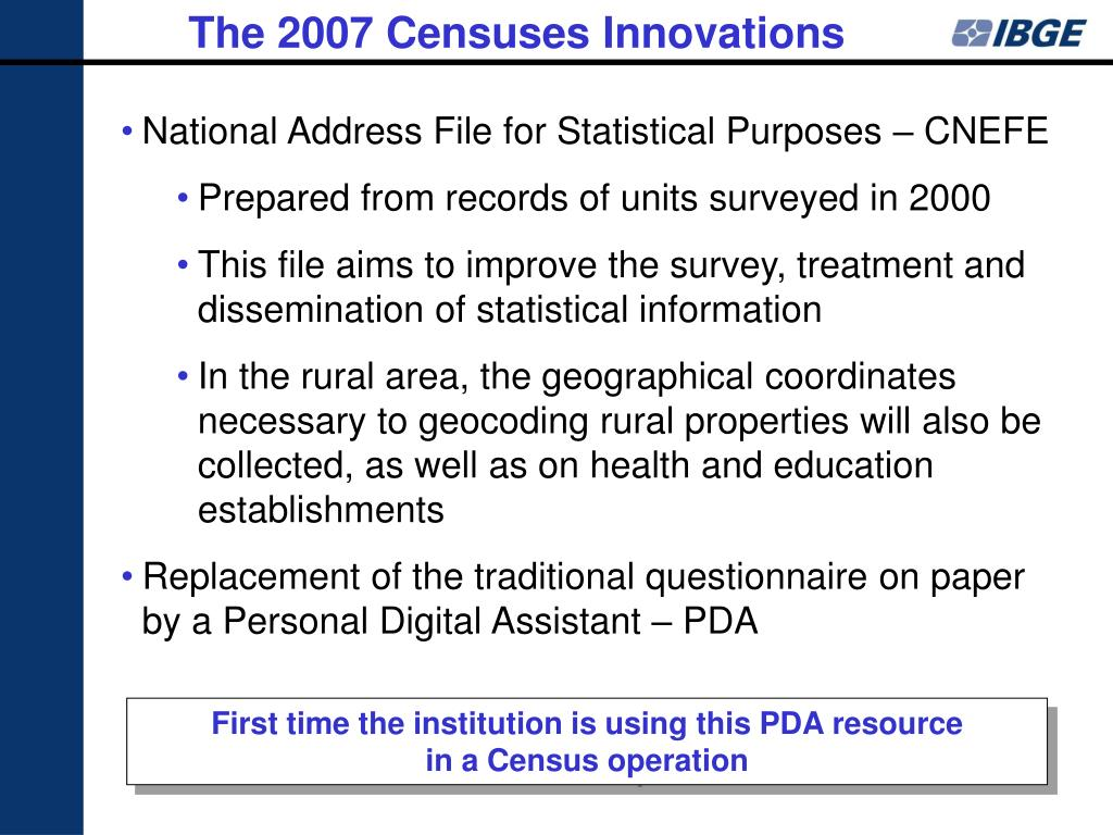 The 2007 Censuses Innovations