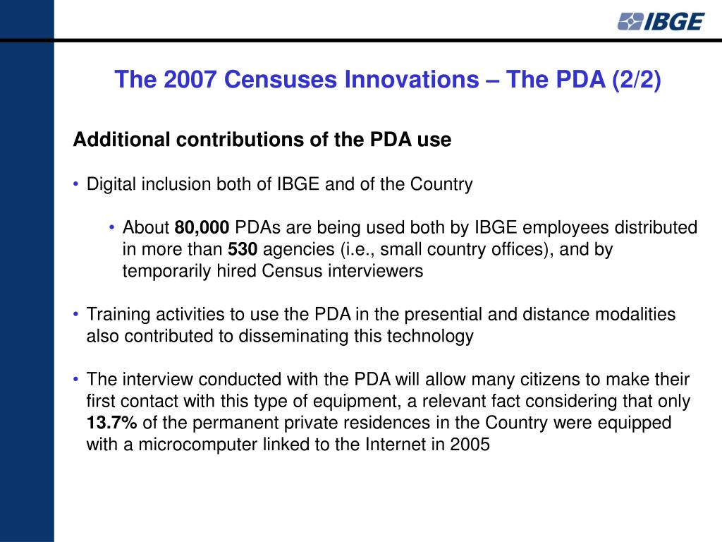 The 2007 Censuses Innovations – The PDA (2/2)