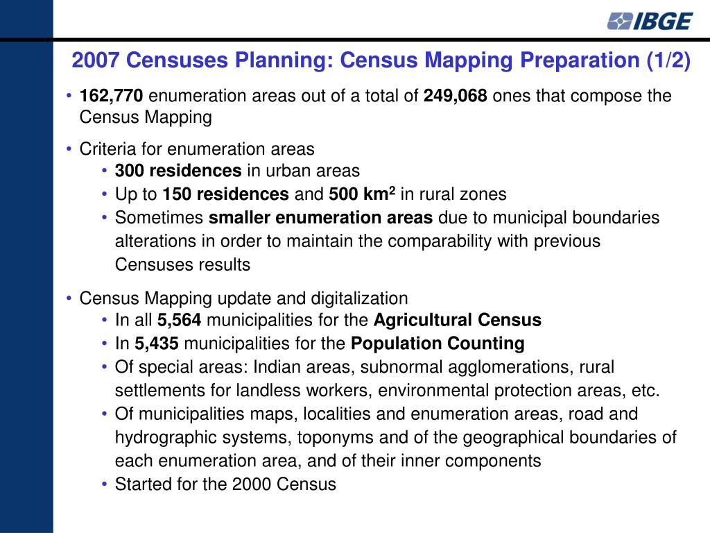 2007 Censuses Planning: Census Mapping Preparation (1/2)