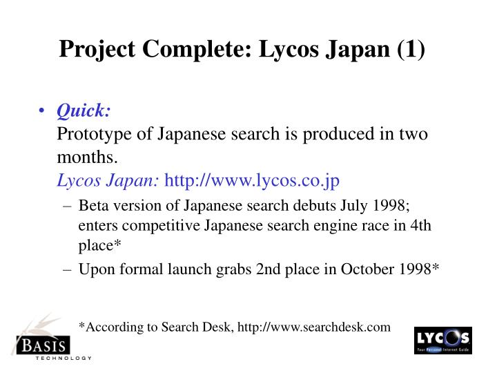Project Complete: Lycos Japan (1)
