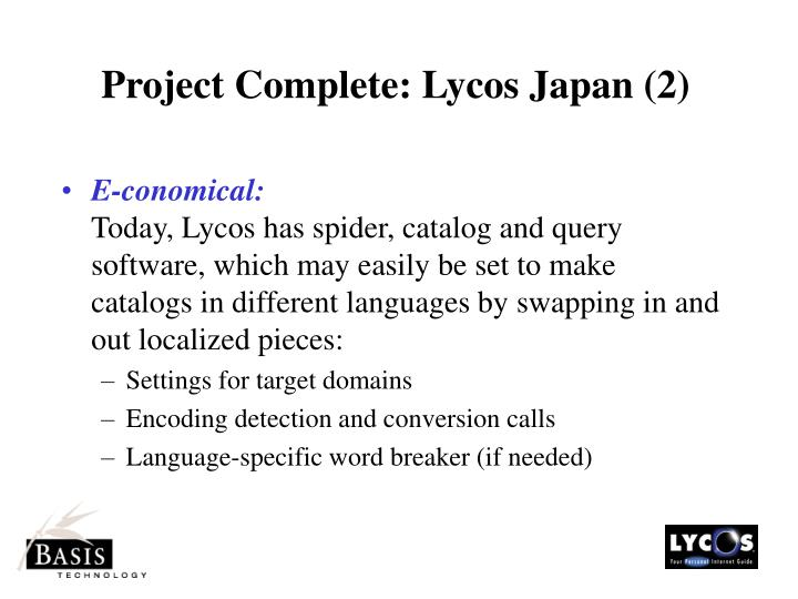 Project Complete: Lycos Japan (2)