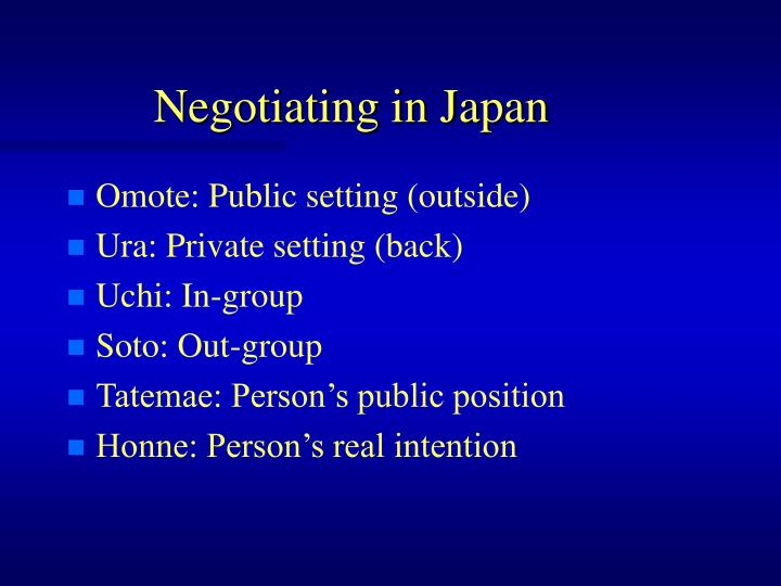Negotiating in Japan