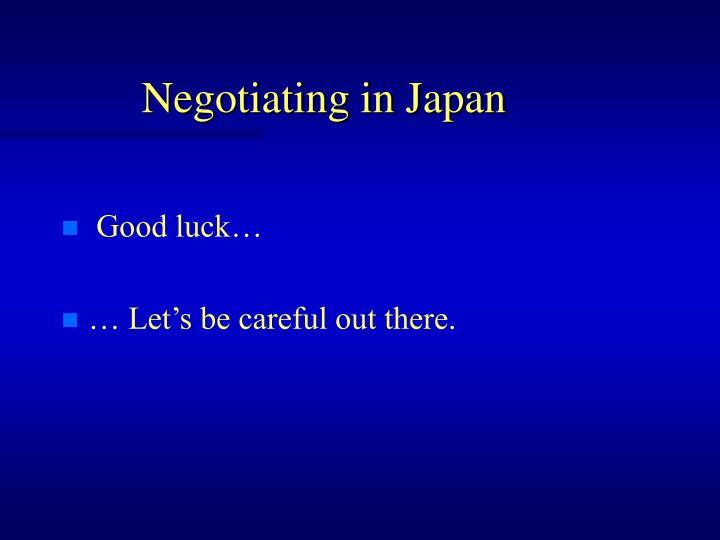 Negotiating in Japan