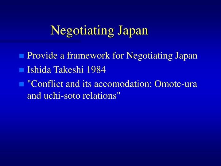 Negotiating Japan