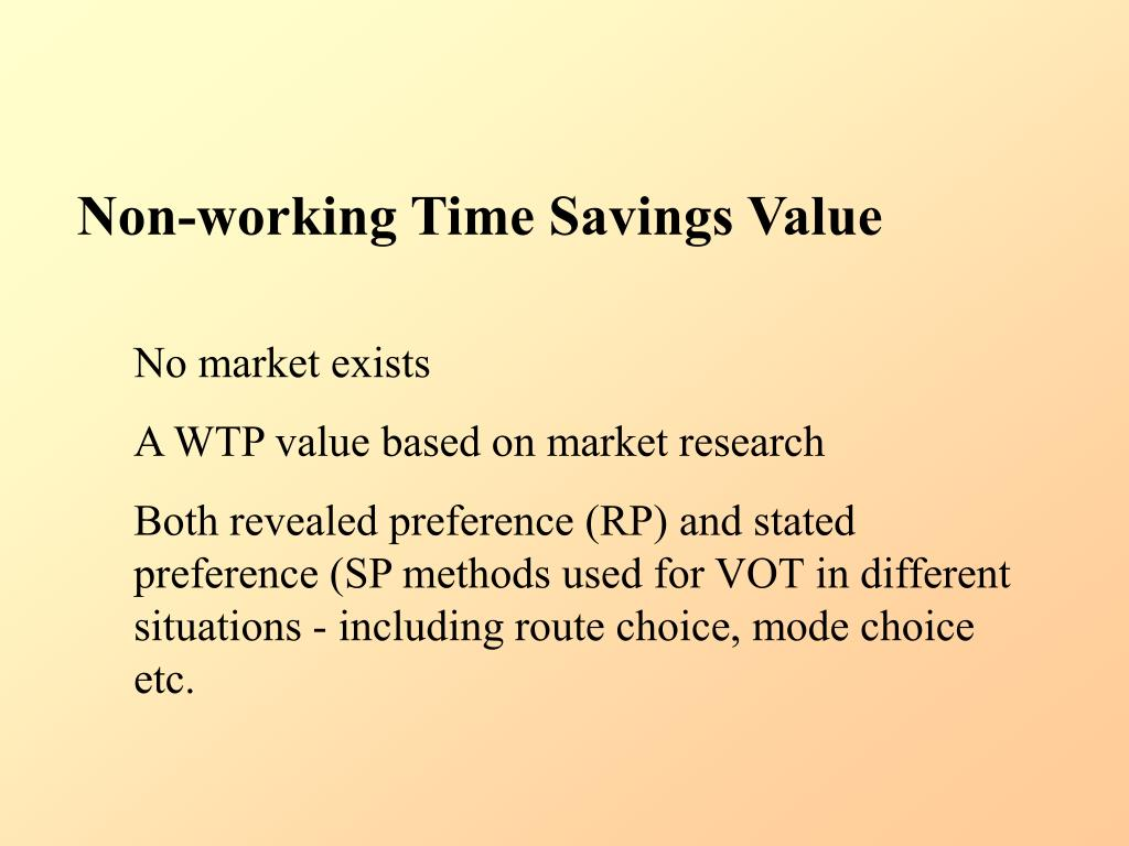 Non-working Time Savings Value