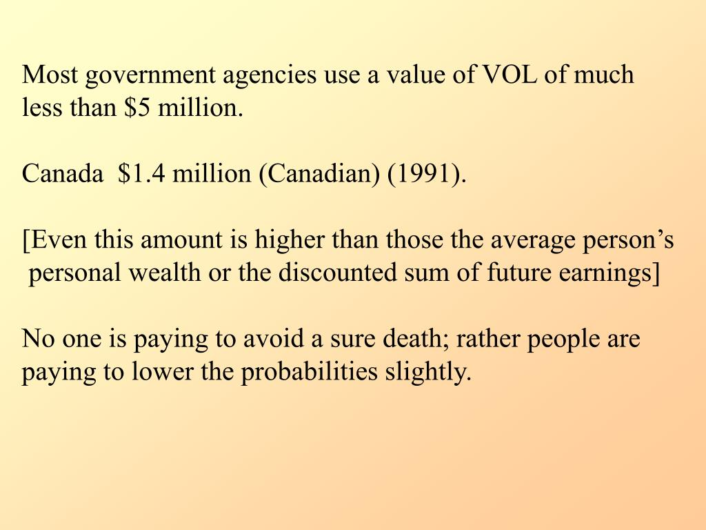 Most government agencies use a value of VOL of much