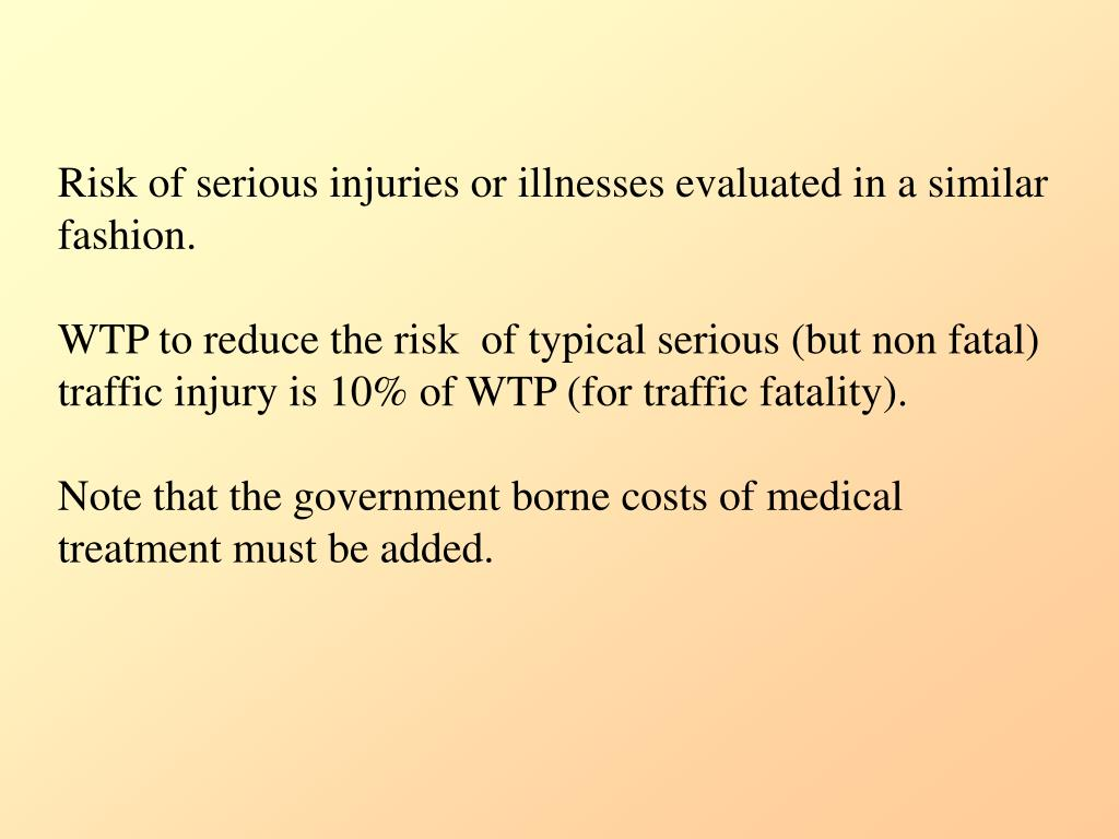 Risk of serious injuries or illnesses evaluated in a similar