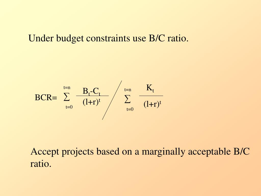 Under budget constraints use B/C ratio.