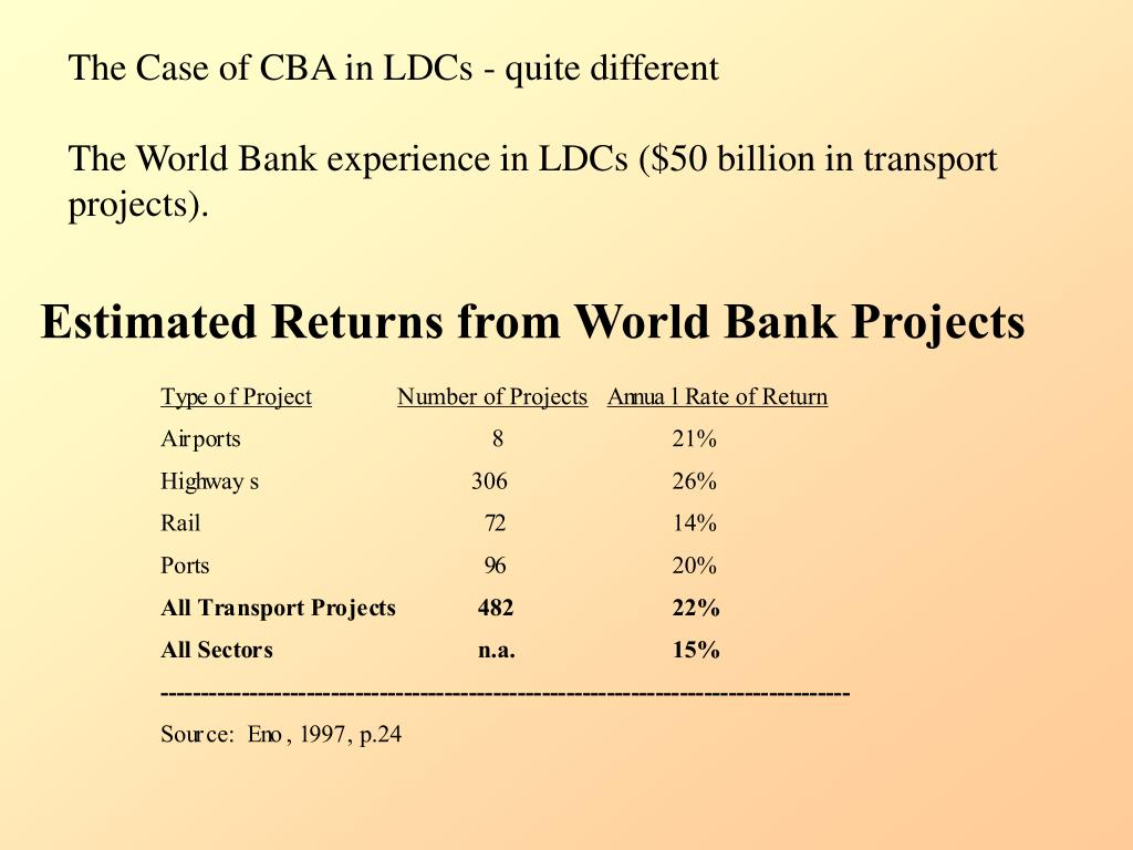 The Case of CBA in LDCs - quite different