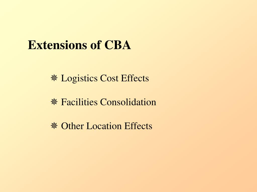 Extensions of CBA