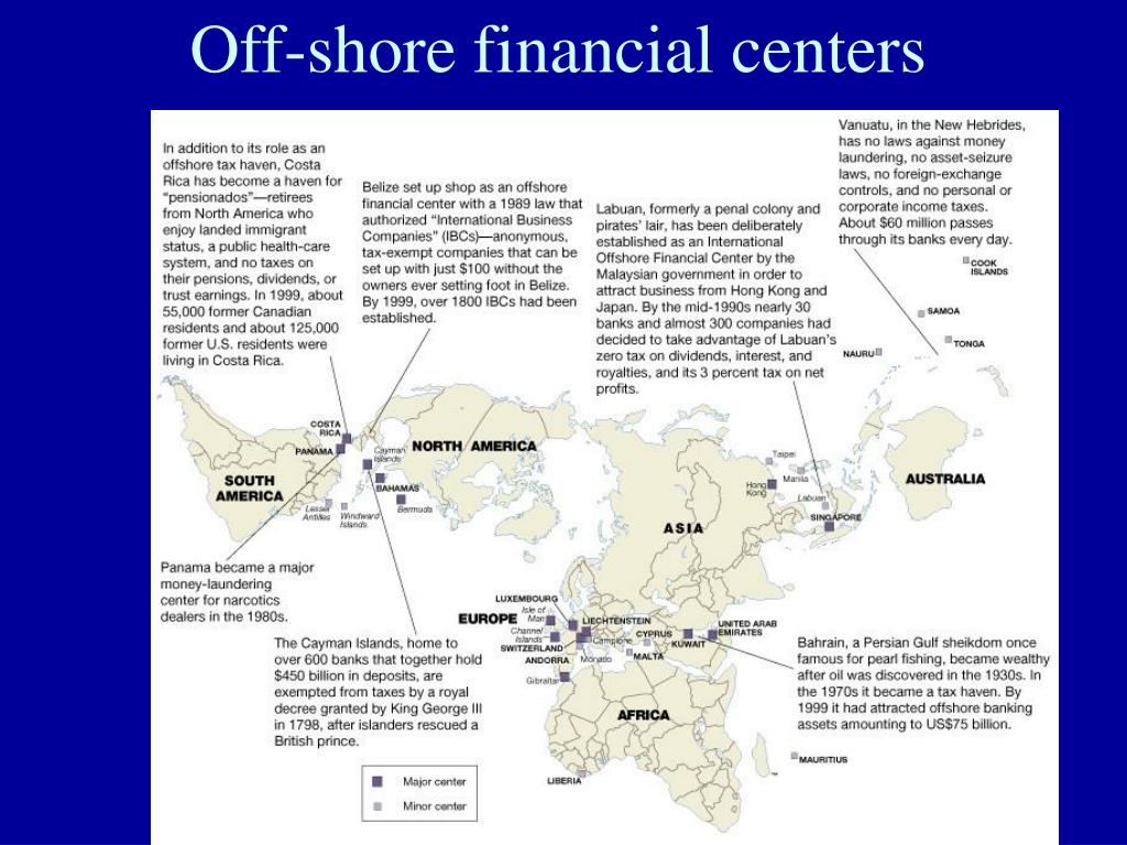 Off-shore financial centers