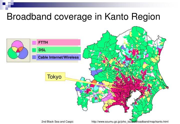 Broadband coverage in Kanto Region