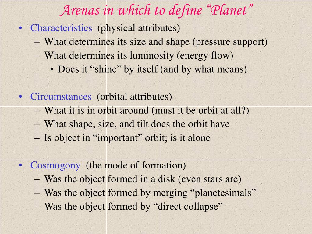 """Arenas in which to define """"Planet"""""""