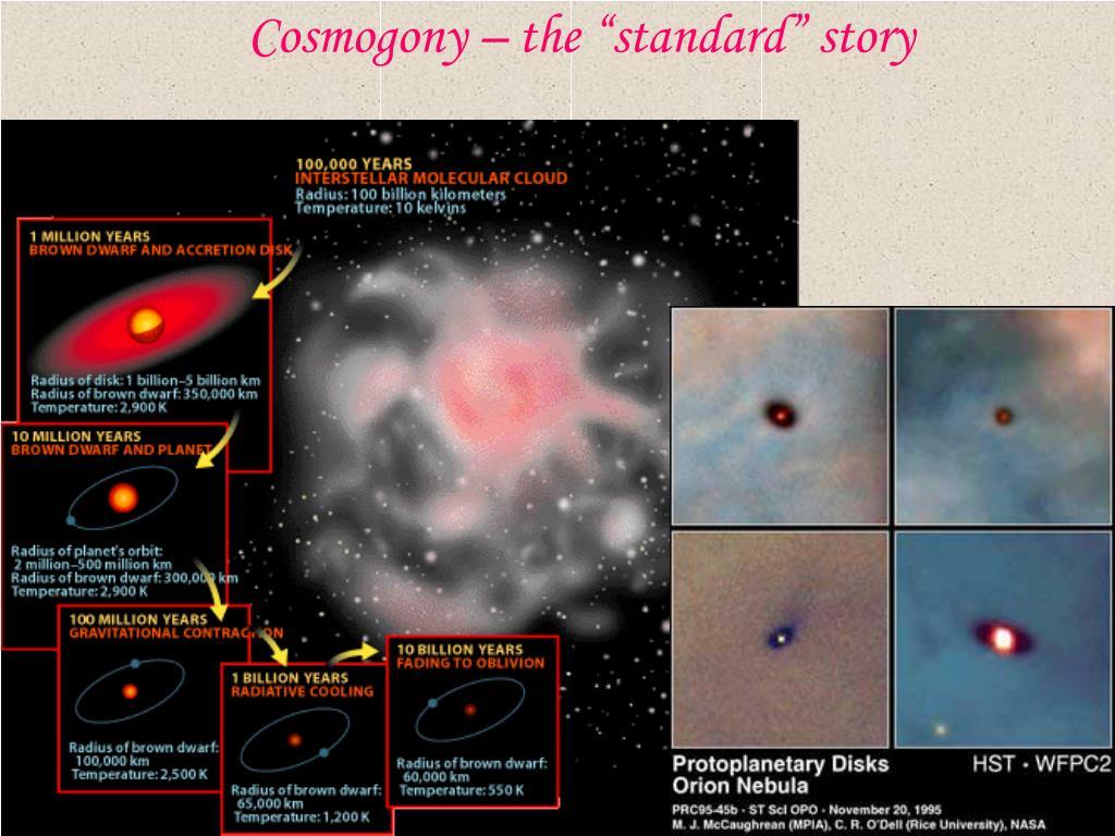 "Cosmogony – the ""standard"" story"