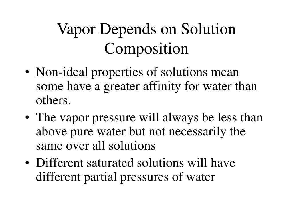 Vapor Depends on Solution Composition