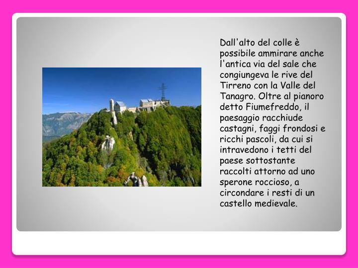 Dall'alto del colle è possibile ammirare anche l'antica via del sale che congiungeva le rive del Tirreno con la Valle del Tanagro. Oltre al pianoro detto Fiumefreddo, il paesaggio racchiude castagni, faggi frondosi e ricchi pascoli, da cui si intravedono i tetti del paese sottostante raccolti attorno ad uno sperone roccioso, a circondare i resti di un castello medievale.