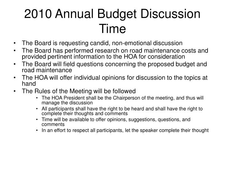 2010 Annual Budget Discussion Time