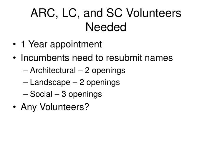 ARC, LC, and SC Volunteers Needed