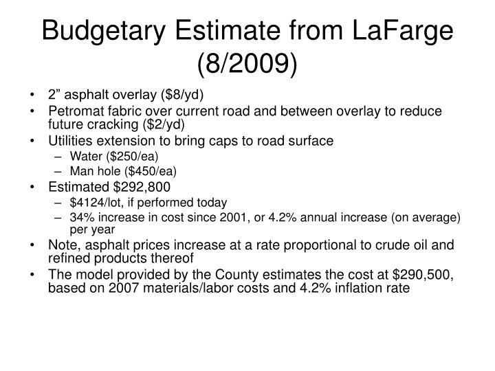Budgetary Estimate from LaFarge (8/2009)