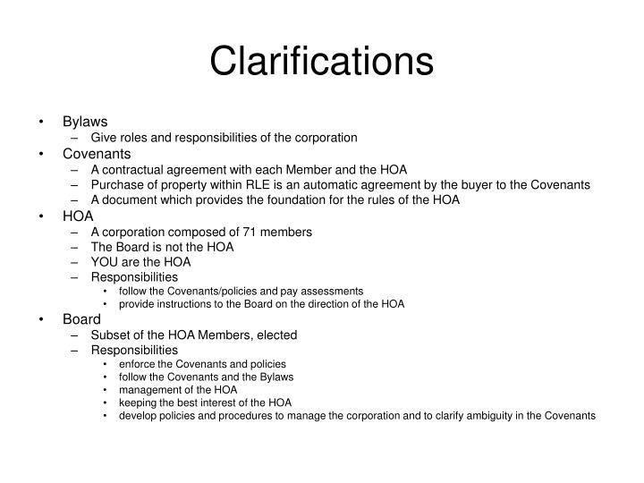 Clarifications