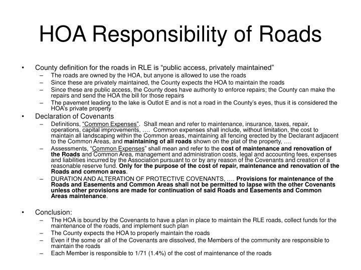 HOA Responsibility of Roads