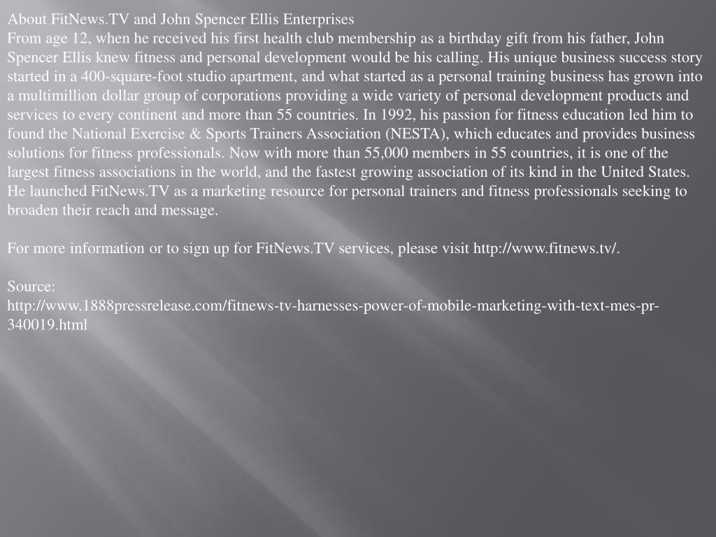 About FitNews.TV and John Spencer Ellis Enterprises