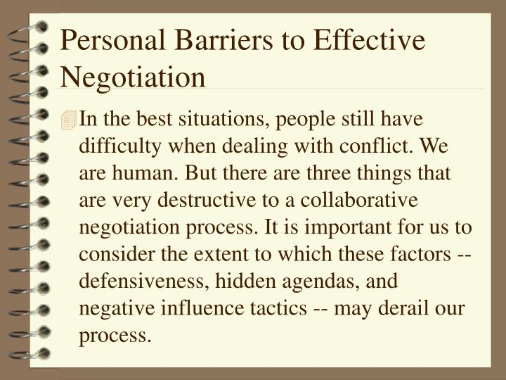 Personal Barriers to Effective Negotiation
