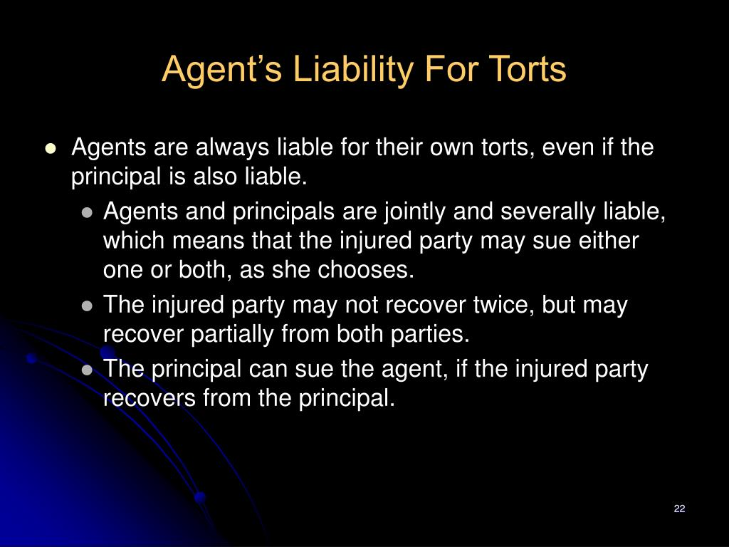Agent's Liability For Torts