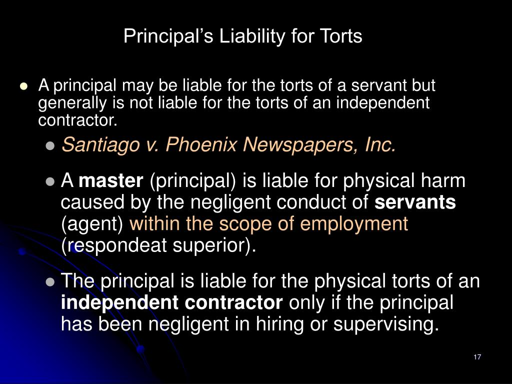Principal's Liability for Torts