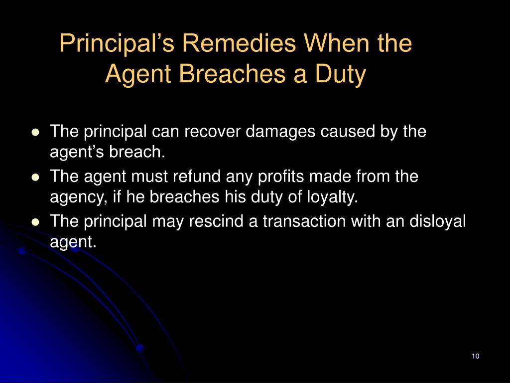 Principal's Remedies When the Agent Breaches a Duty