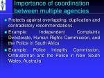 importance of coordination between multiple agencies