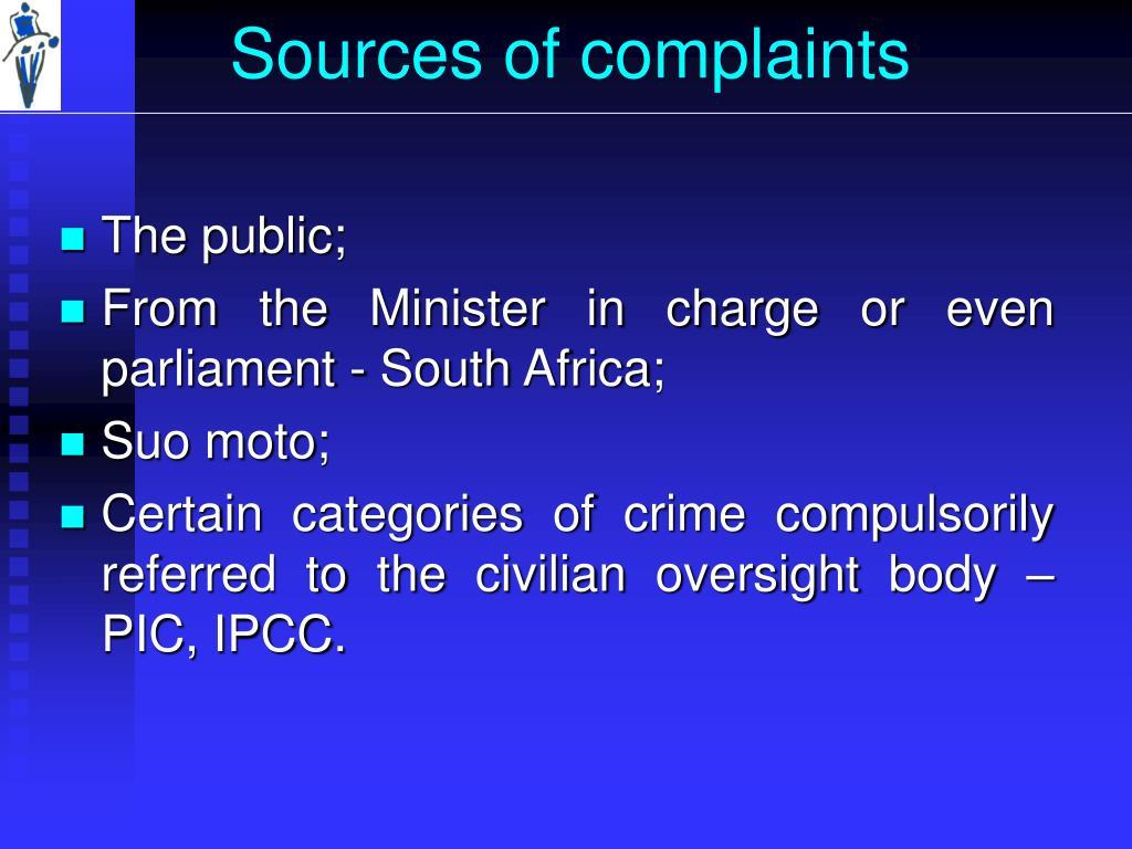 Sources of complaints